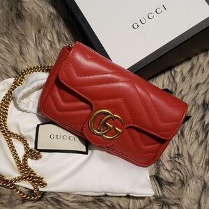 Gucci Red Marmont Matelasse Leather Super Mini Bag